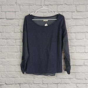 Lou & Grey | Grey-Blue Long Sleeve Roll Sleeve Top